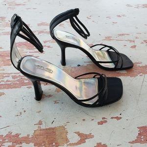 Y2K square toe strappy kitten heels